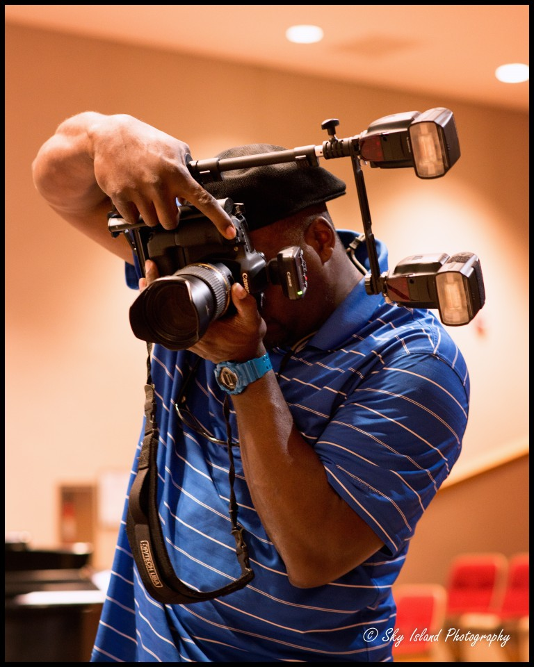 John Heyward of Sky Island Photography demonstrating the use of canon 5d mark III at an event combined with a Tamron 24-70mm VC f/2.8 lens, 2 canon 600 ex-rt speed lights and Canon Speedlight wireless radio controller.