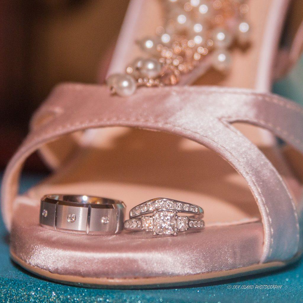 Wedding rings on Brides shoe Sky Island Photography John Heyward