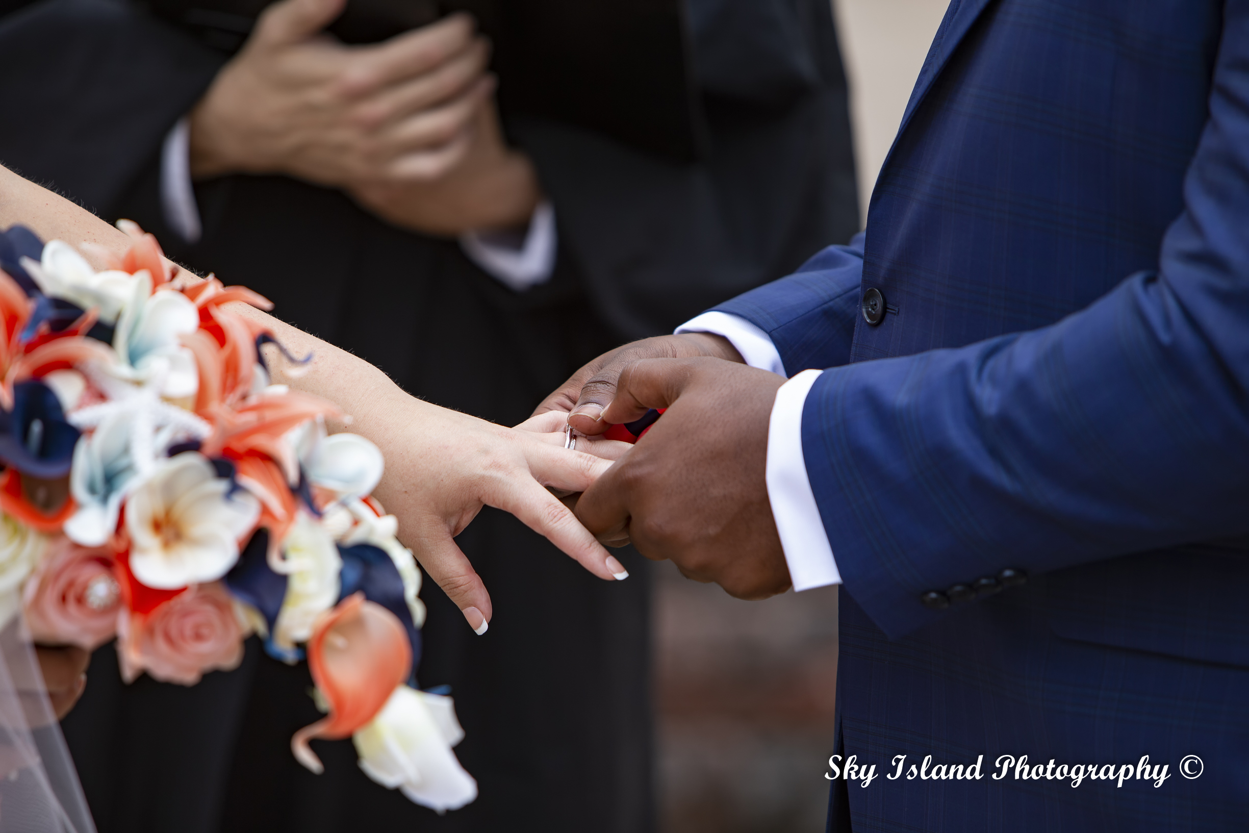 Wedding day Groom taking Bride Hands sky Island photography John Heyward Baltimore Md