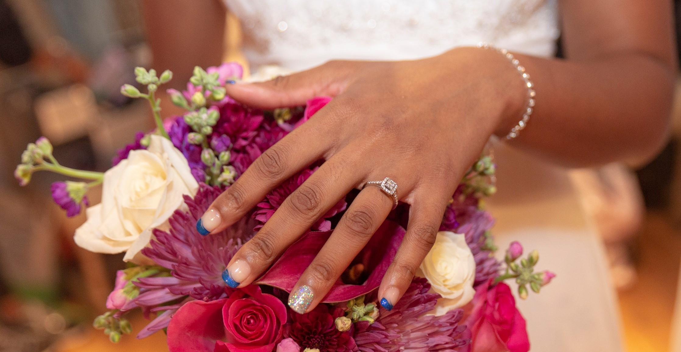 wedding Bouquet Bride hand wedding ring Sky island Photography John Heyward