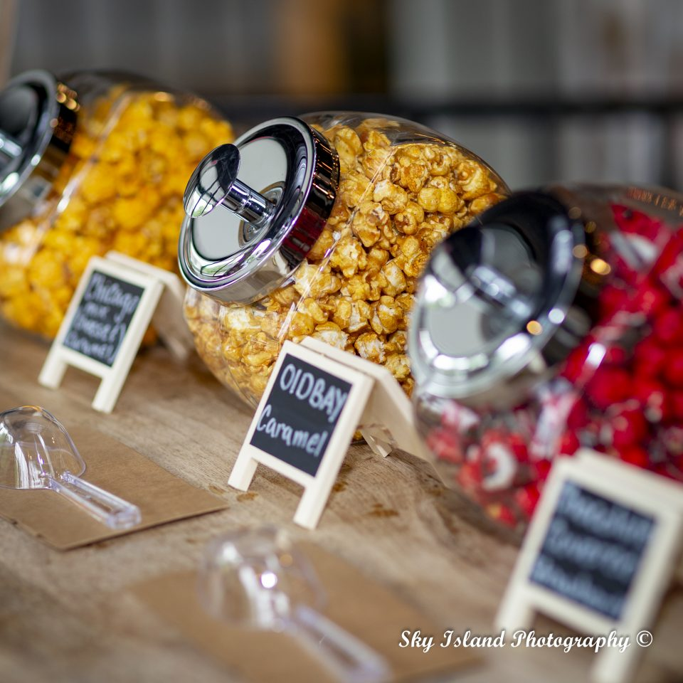 Flavored popcorn in jars Sky Island Photography & video captured by John Heyward Baltimore City MD